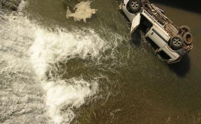 Car accident in a river