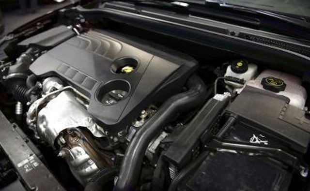 A close-up of a clean car engine
