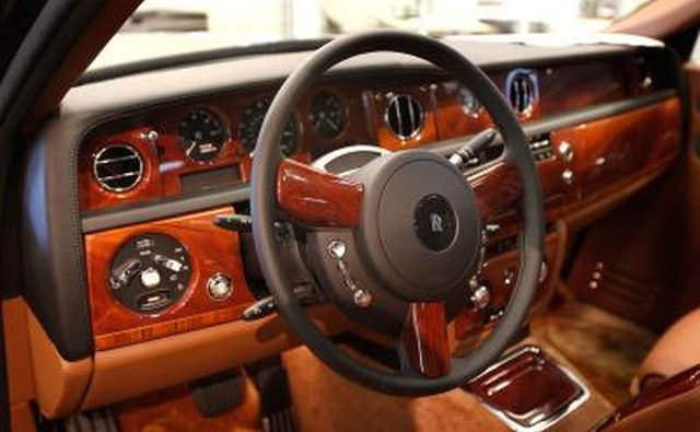 Interior of Rolls-Royce Phantom vehicle