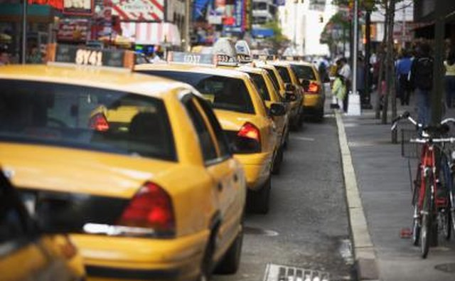 Taxi cabs in New York City.