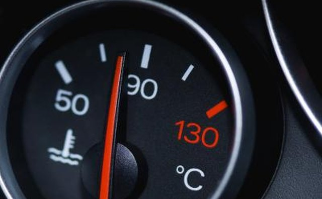 A car temperature gauge within the normal temperature.