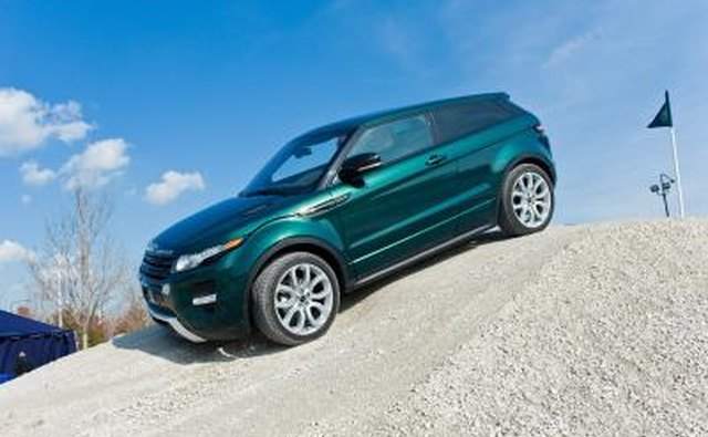 Range Rover Evoque on terrain course