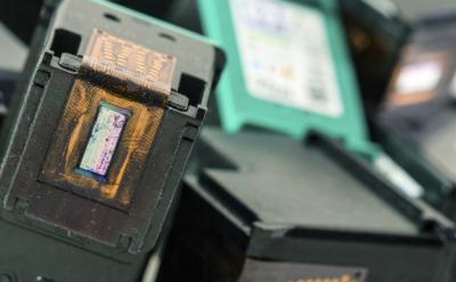 Close up of ink cartridges.