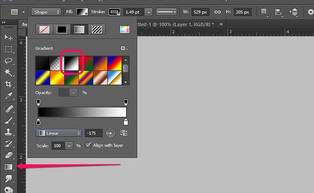Gradient Tool presets are available from the Options bar.
