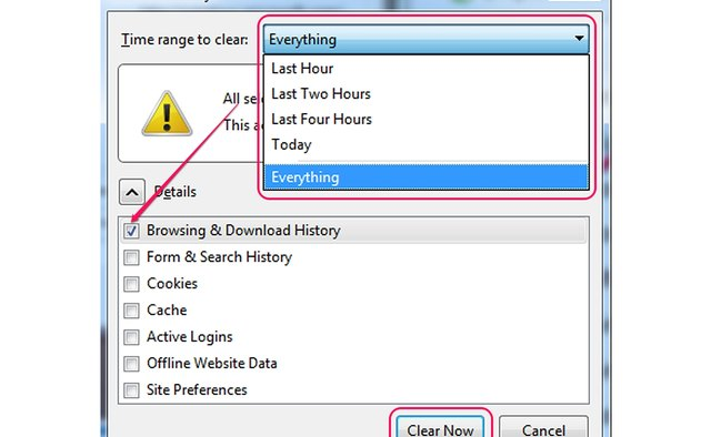 Clearing the history from the Clear All History dialog.