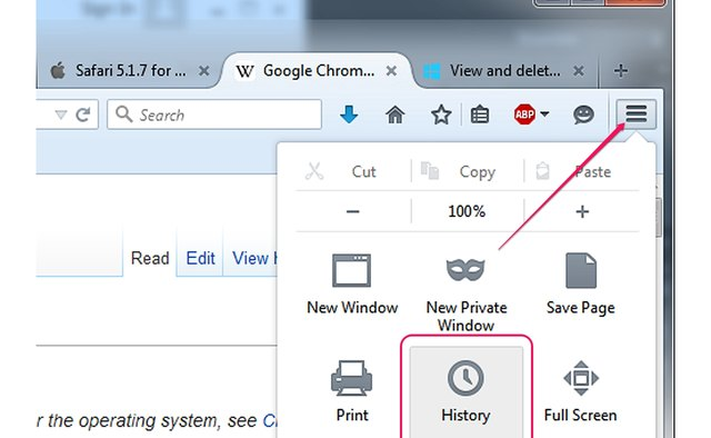 Clicking the History icon in the Firefox menu.