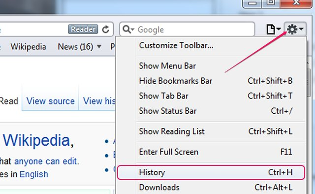 Finding the history in Safari for Windows.