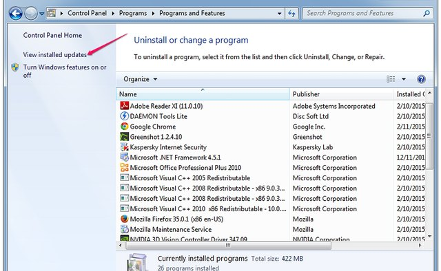 The Uninstall or Change a Program section of the Control Panel.