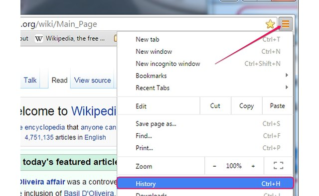 Opening the History page in Google Chrome.