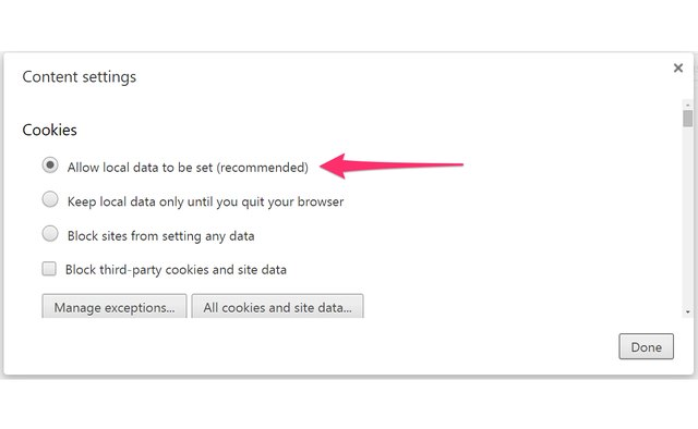 Use Chrome's recommended settings to enable cookies.