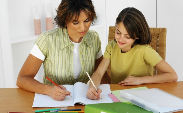 Mother helping her daughter (9-10) with her homework