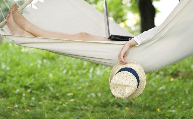Relaxing on hammock