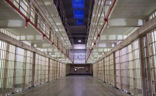 Alcatraz cells at night