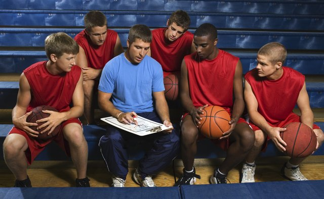 Basketball team and coach on bleachers