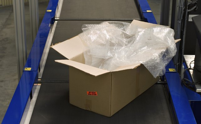 Open box on conveyor belt