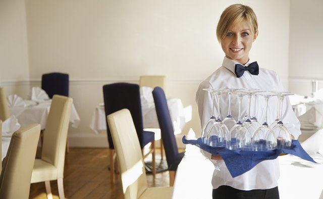 Waitress with Tray of Wine Glasses