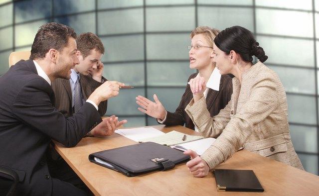 Business negotiations - two men 2 women