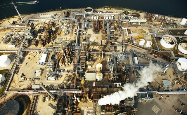 Aerial view of Hoston Oil Refinery