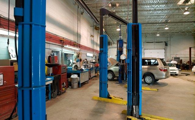 Interior of automotive repair shop