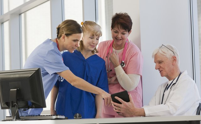 Three nurses discussing information from tablet with doctor