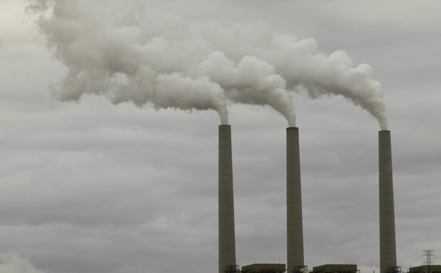 Smoke emerging from chimney stacks, Arizona, USA