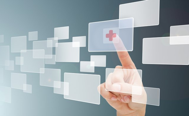 Finger choosing hospital symbol from menu