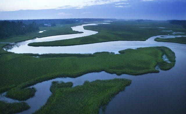 Aerial view of coastal waterway, Bald Head Island, North Carolina