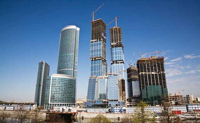 Skyscrapers under construction, Moscow, Russia