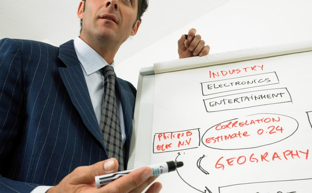Businessman giving presentation using flip chart, low angle view