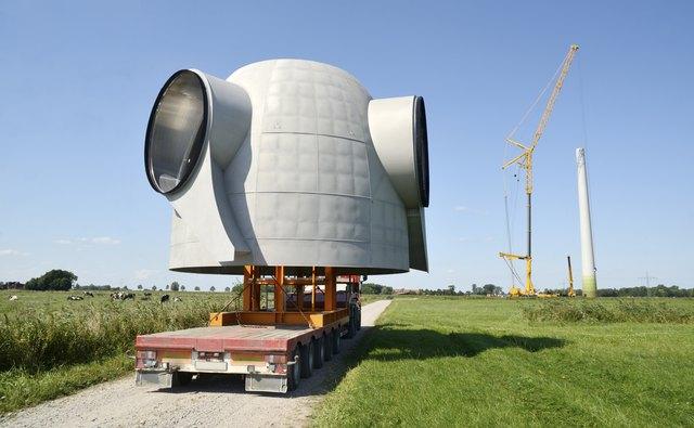 Semi-Truck transporting Rotor Hub of a Wind Turbine