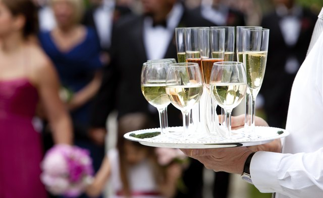 Wedding drinks served by a waiter