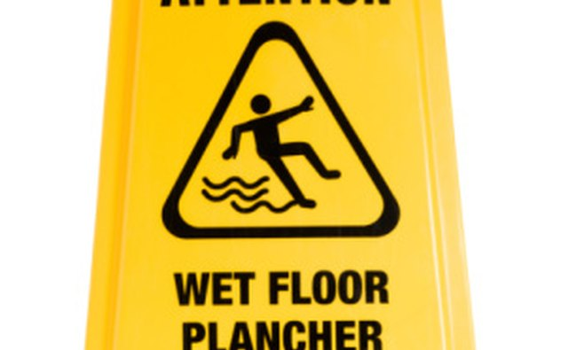 Wet floor signs are one way to prevent slips and falls.