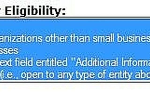 Select Grant Eligibility Categories
