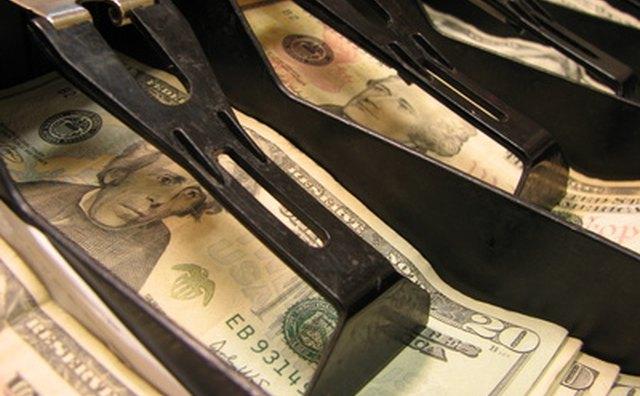 Money in cash register.