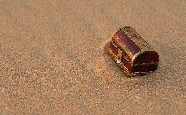 A treasure chest in sand.