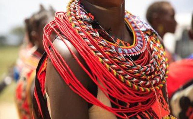Woman wearing African tribal necklace