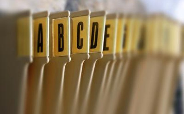 Alphabetic filing system