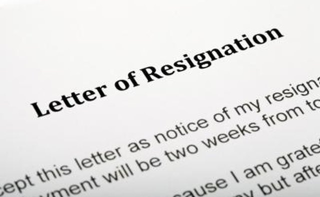 Close up of letter of resignation.