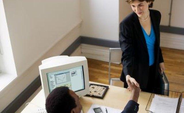 Handshake of prospective client.