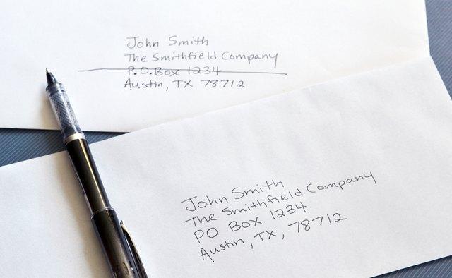 how to address an envelope to a po box   bizfluent