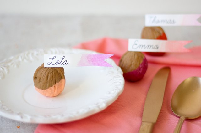Color Dipped Walnut Place Cards