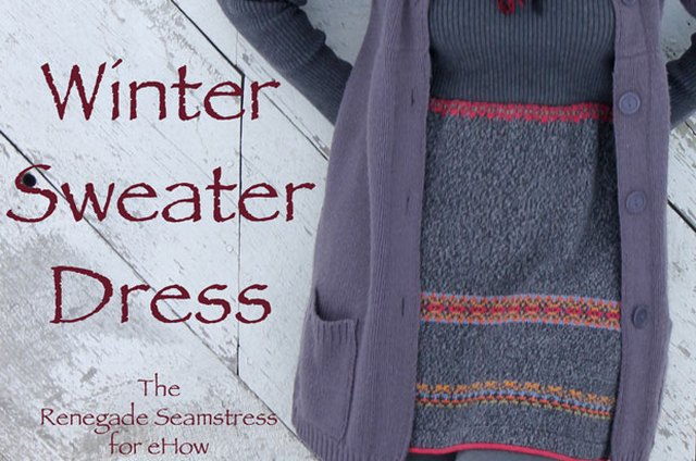 Upcycled Winter Sweater Dress