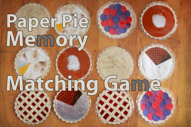 Paper Pie Memory Matching Game for Thanksgiving