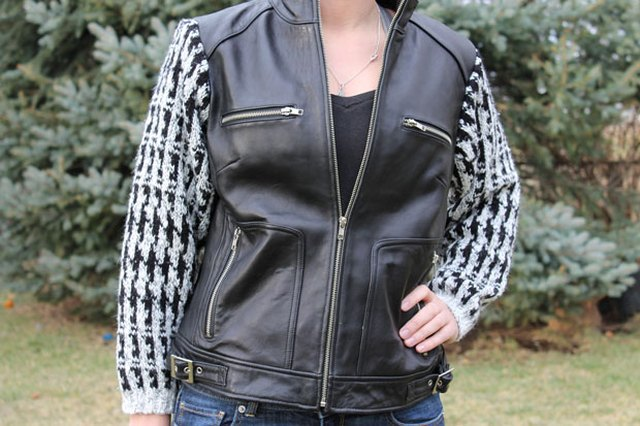 Add Sweater Sleeves to a Leather Vest to Create a Trendy Jacket