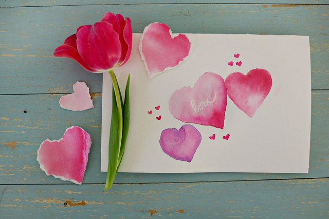 Watercolor Hearts Valentine's Day Card