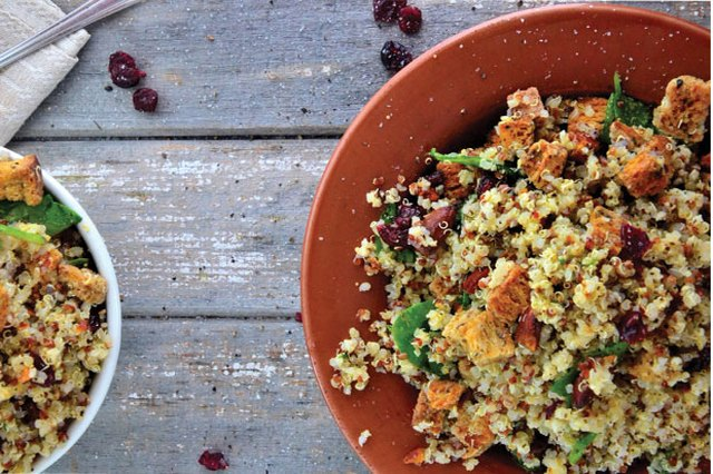 Gluten-Free Cherry Quinoa with Crunchy Cilantro Croutons