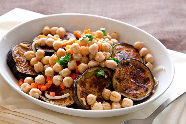 Grilled Eggplant Salad with Lemony Chickpeas