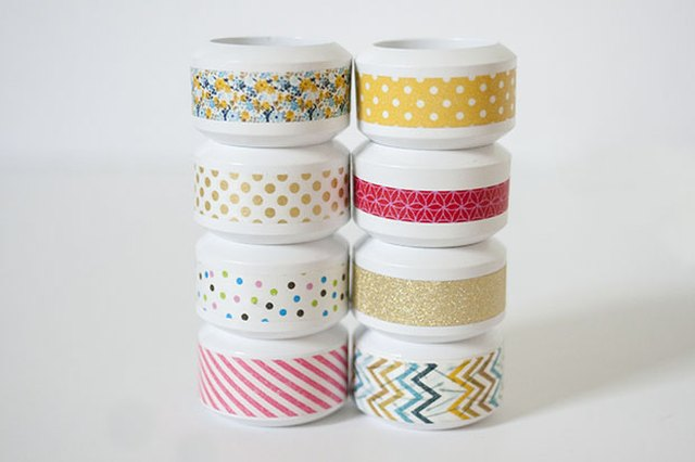 Wake Up Tired Napkin Rings with Spray Paint and Washi Tape