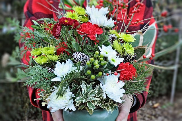 Turn a $10 Bunch of Flowers Into a $70 Holiday Centerpiece