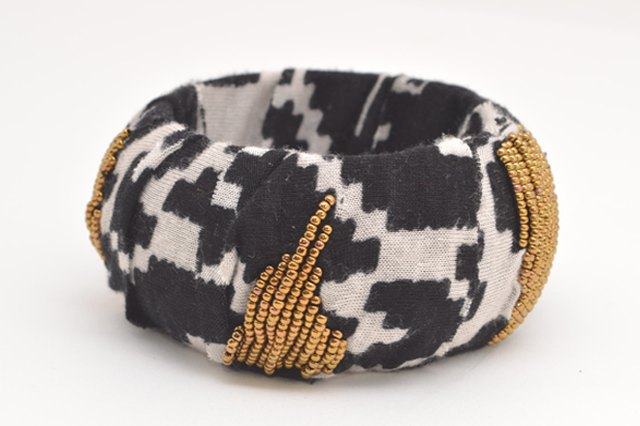 DIY: Fabric Wrapped and Beaded Bangle